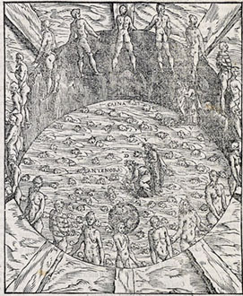 Vellutello: Dante and Virgil between the giants and Cocytus