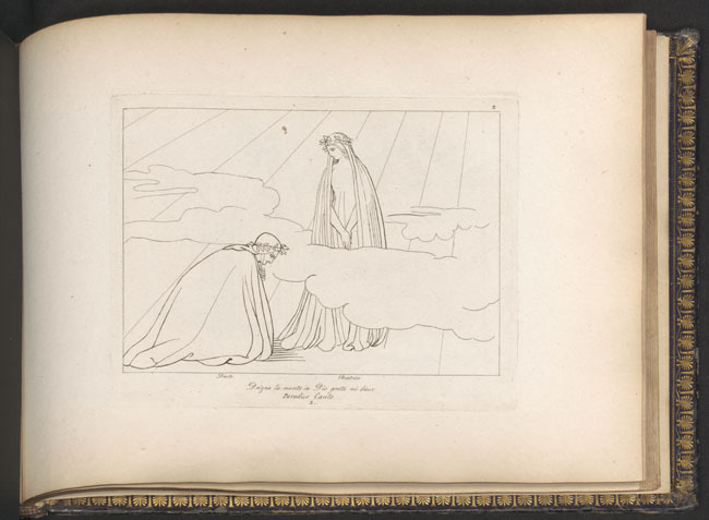 Flaxman, Beatrice instructs Dante