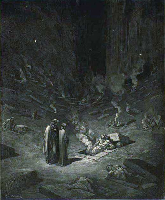 Dante and Virgil surrounded by burning coffins